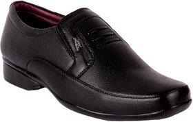 1AAROW Men's Synthetic Black Slip On Formal Shoes
