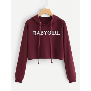 Raabta Maroon Baby Girl Print Crop Sweat Shirt