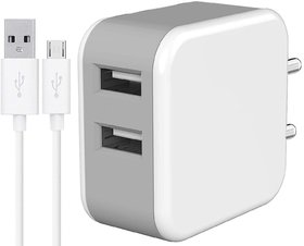 Charger for Vivo Y15 2019 Dual USB Port Wall Charger  Mobile Fast Charger  Android Charger with 1 Meter Micro USB Char