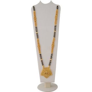 RADHEKRISHNA golden color alloy material beautiful long 24 inch fold over mangalsutra