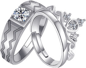SILVERSHINE, silver plated adjustable royal look king and queen couple ring for men and women.