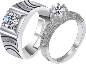 SILVERSHINE,silver plated with shiny crystal diamond Exclusive designed adjustable couple ring for men and women.