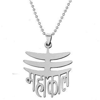 Men Style Religious Jewelry Rock Shiv Mahadev Mahakal Silver  Stainless Steel  Necklace Pendant