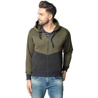 Studds Black And Olive Plain Hooded Casual Sweatshirt For Men