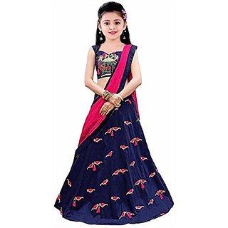 Femisha Creation BluePink Latest Design Embroidered Kids Girls Wedding Wear Semi Stitched Lehenga CholiFree Size