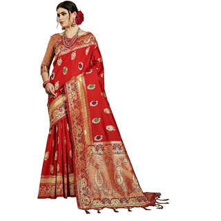 Yadu Nandan  Festive Wear Banarasi Art Silk Wedding Saree With Banarasi Art Silk Blouse Piece, Color:  Red
