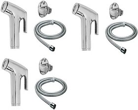 SKS - Toilet Conti Faucet Set with 1.5 Meter Flexible Chain Health Faucet Set of 3 Health  Faucet (Single Handle Installation Type)