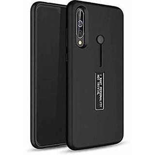 QTek Dual Layer TPU + PC with Stand  Finger Holder Back Case Cover for Vivo Z1 pro - (Black)