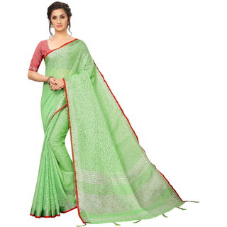 Aurima Womens Pure Heavy Linen Cotton Daily Wear Saree With Silver Striped Pallu