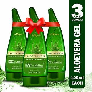 LA Organo Aloe Vera Gel Soothing Aloe Vera Gel For Face, Skin And Hair - Best Multipurpose Be(Pack Of 3)