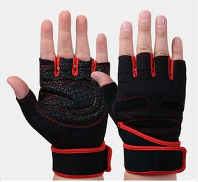 Liboni D-157 Gym Gloves/Cycling Gloves/Riding Gloves/Stretchable Size For Both Men And Women, Red Colour