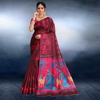 Svb Saree Maroon Colour Animal Printed Saree With Blouse Piece