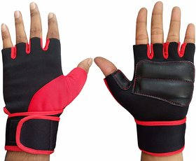 Liboni D-106 Gym Gloves/Cycling Gloves/Riding Gloves/Stretchable Size For Both Men And Women, Red Colour