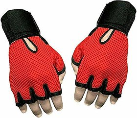 Liboni Full Net Red Gym Gloves/Cycling Gloves/Riding Gloves/Stretchable Size For Both Men And Women