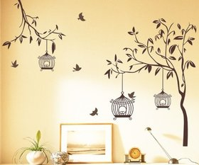 Eja Art Natural Tree PVC  Contemporary Theme Brown Wall Stickers (140X110Cm)