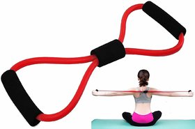 Liboni Red Resistance Tube With Foam Handles, Stretchable Pull Rope Rubber Exerciser For Workout For Men Women