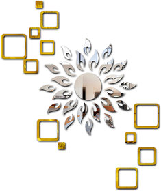 Eja Art Sun Silver With Square 2 Set Golden Mirror 1 Acrylic Wall Sticker
