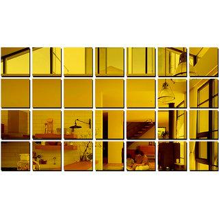 Eja Art Big Square 28 Golden Mirror Acrylic Wall Sticker
