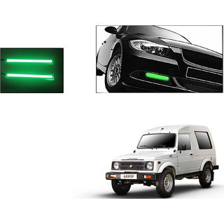 Autoladders Slim Daytime Led Drl Lights Green Set Of 2 For Maruti Gypsy