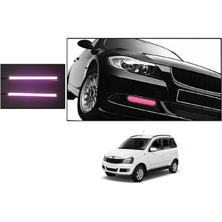 Autoladders Slim Daytime Led Drl Lights Pink Set Of 2 For Mahindra Quanto