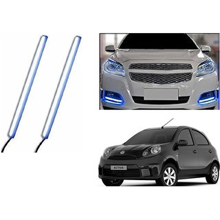 Autoladders Slim Daytime LED DRL Lights Ice Blue Set Of 2 For Nissan Micra Active