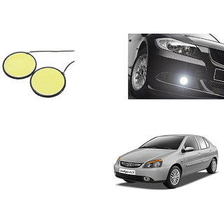 Autoladders Car Round 2.5 Inches COB LED DRL White Set of 2 For Tata Indica ecs
