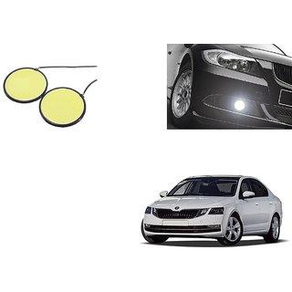 Autoladders Car Round 2.5 Inches COB LED DRL White Set of 2 For Skoda Octavia