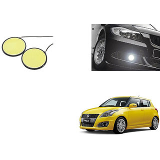 Autoladders Car Round 2.5 Inches COB LED DRL White Set of 2 For  Maruti Swift