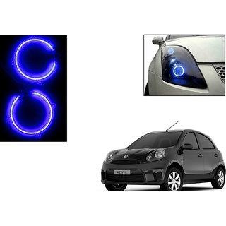 Autoladders Headlight Angel Eyes LED Light Set Of 2 Blue for Nissan Micra Active