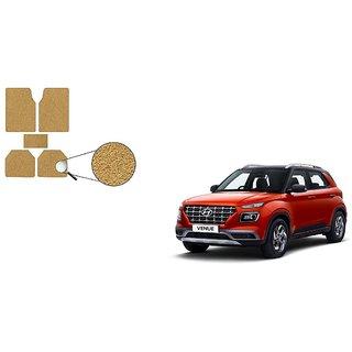 Autoladders Premium Quality Beige Noodle Foot/Floor Mat set of 5 For Hyundai Venue