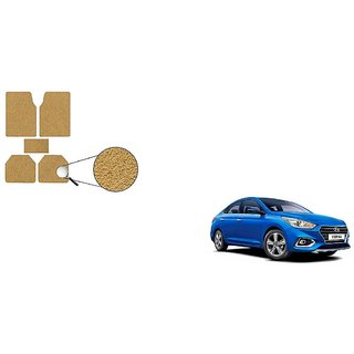 Autoladders Premium Quality Beige Noodle Foot/Floor Mat set of 5 For Hyundai Verna