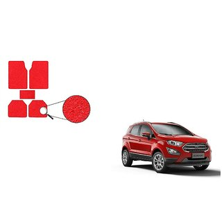 Autoladders Red Noodle Car Floor/Foot Mat Set Of 5 For  Ford EcoSport