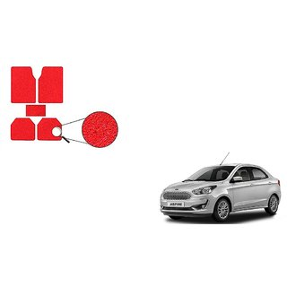 Autoladders Red Noodle Car Floor/Foot Mat Set Of 5 For  Ford Aspire