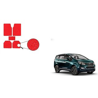 Autoladders Red Noodle Car Floor/Foot Mat Set Of 5 For  Mahindra Marazzo