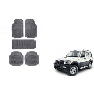 Autoladders Black Rubber Mat Set of 5 Pcs For  Mahindra Scorpio
