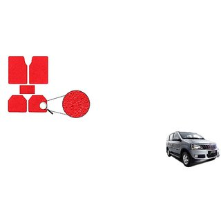 Autoladders Red Noodle Car Floor/Foot Mat Set Of 5 For  Mahindra Xylo
