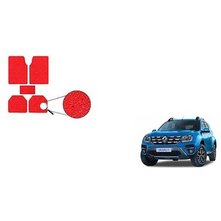 Autoladders Red Noodle Car Floor/Foot Mat Set Of 5 For  Renault Duster