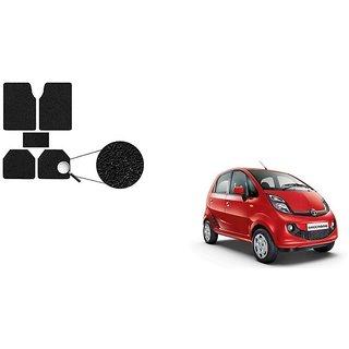 Autoladders Premium Quality Black Noodle Foot/Floor Mat set of 5 For Tata Nano