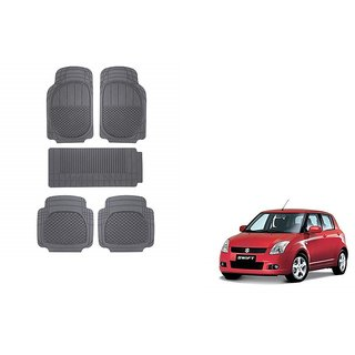 Autoladders Black Rubber Mat Set of 5 Pcs For  Maruti Suzuki Swift
