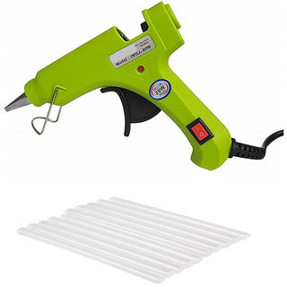 NBS Green Glue Gun 20W with 10 transparent glue stick 7mm with on/off button and light indicator