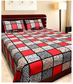 SHAKRIN 3D Printed Polycotton Red Double Bedsheet with 2 Pillow Covers  (228 cm x 228 cm)