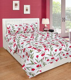 SHAKRIN 3D Printed Double Bedsheet with 2 Pillow Covers, Size 90 Inches x 90 Inches (228 cm x 228 cm)