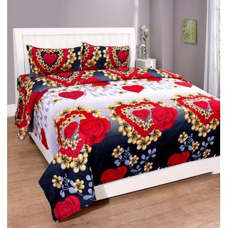 SHAKRIN Polycotton 3D Printed Red Double Bedsheet with 2 Pillow Covers (228 cm x 228 cm)