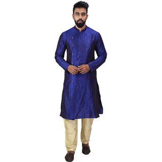 Baga Cut / Angrakha Cotton Silk Regular Fit Self Design Kurta Pajama Set Navy Color