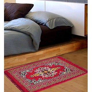 Om Handicrafts Red Abstract Multipurpose Floor Runner- 122 X 76 Cm