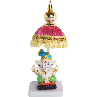 Chatri Ganesha For Car Dashboard, Homeofficeidol Fengshui Showpiece Gift Decorative Showpiece H-14 ,W-5.3 Cm Green