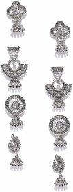 Combo Of 4 Antique Silver Tone Jhumki Earrings For Women / Girls