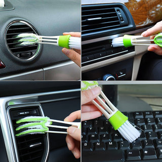 Generic Multipurpose Microfiber Double Sided Car Cleaning Brush For Car A/C Vents, Blinds, Keyboard