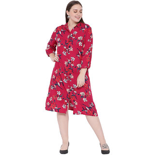 Oxolloxo Women's Plus Size 3/4Th Sleeve Floral Dress (Red_Xxxx-Large)