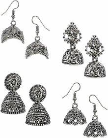 Oxidized Silver Jhumki Earrings For Women